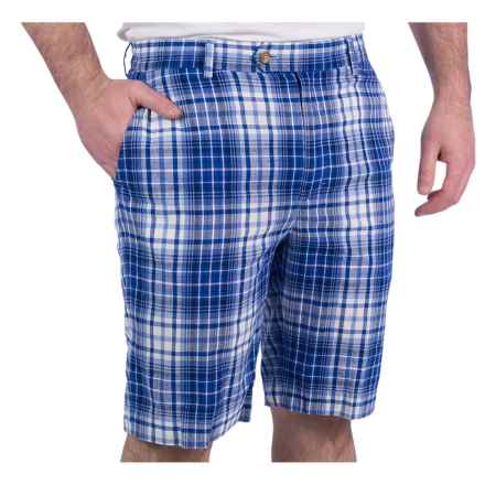 Fairway & Greene Madras Plaid Shorts - Flat Front, Cotton (For Men) in Blue - Closeouts