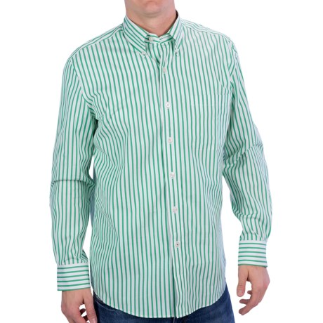 Fairway & Greene Mini-Stripe Shirt - Button-Up, Long Sleeve (For Men) in Green/White