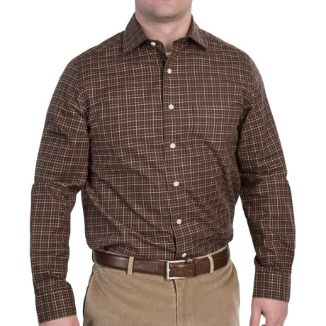 Fairway & Greene Multi-Check Twill Sport Shirt - Long Sleeve (For Men) in Brown Multi