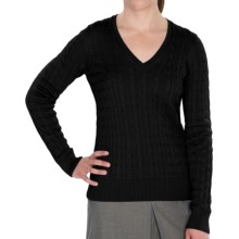 Fairway & Greene Perry Cable Sweater - V-Neck (For Women) in Black - 2nds