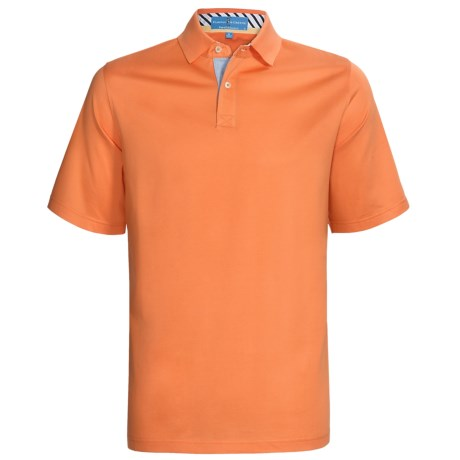 Fairway & Greene Pureformance Grenville Lisle Polo Shirt - Short Sleeve (For Men) in Tangerine