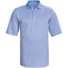 Fairway & Greene Pureformance Lisle Mini-Stripe Polo Shirt - Short Sleeve (For Men) in Sky/White - Closeouts