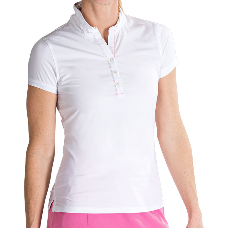 Fairway Greene Ruffled Polo Shirt Mock Neck Short