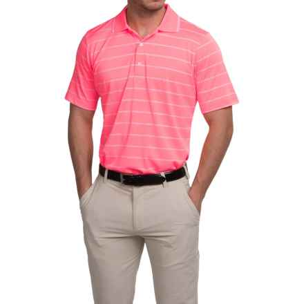 Fairway & Greene Seahawk Stripe Tech Polo Shirt - Short Sleeve (For Men) in Watermelon - Closeouts