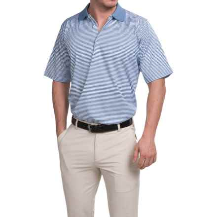 Fairway & Greene Signature Bar Stripe Lisle Polo Shirt - Short Sleeve (For Men) in Dark Chambray Blue Heather - Closeouts
