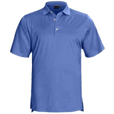 Fairway & Greene Signature Solid Lisle Polo Shirt - Mercerized Cotton, Short Sleeve (For Men) in Baltic