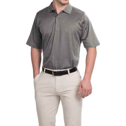 Fairway & Greene Signature Solid Lisle Polo Shirt - Mercerized Cotton, Short Sleeve (For Men) in Charcoal Heather - Closeouts