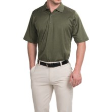 Fairway & Greene Signature Solid Lisle Polo Shirt - Mercerized Cotton, Short Sleeve (For Men) in Pine Heather - Closeouts