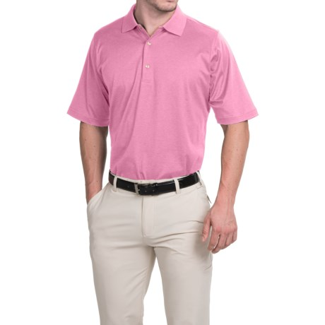Fairway & Greene Signature Solid Lisle Polo Shirt - Mercerized Cotton, Short Sleeve (For Men) in Sugar Pink