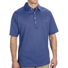 Fairway & Greene Spencer Pureformance Stripe Polo Shirt - Short Sleeve (For Men) in Haze/Marine - Closeouts