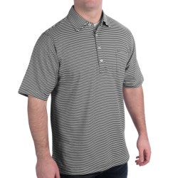 Fairway & Greene Spencer Pureformance Stripe Polo Shirt - Short Sleeve (For Men) in Antique Pink/Bayside