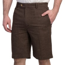 Fairway & Greene Tattersall Check Shorts - Flat Front (For Men) in Truffle - Closeouts