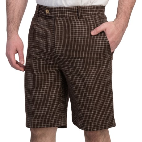 Fairway & Greene Tattersall Check Shorts - Flat Front (For Men) in Truffle
