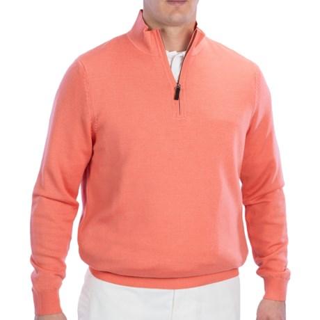 Fairway & Greene Wind Sweater - Merino Wool, Zip Neck (For Men) in Cranberry