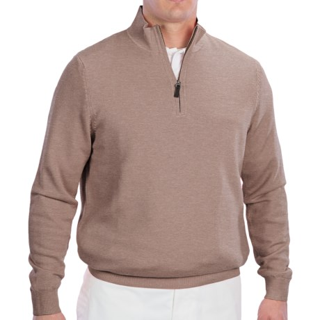 Fairway & Greene Wind Sweater - Merino Wool, Zip Neck (For Men) in Tweed