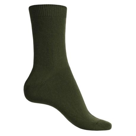 Falke Cosy Socks - Wool-Cashmere, Crew (For Women) in Khaki