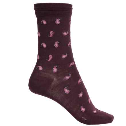 Falke Paisley Socks - Wool Blend, Crew (For Women) in Burgundy - Closeouts
