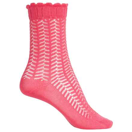 Falke Romantic Lace Socks - Crew (For Women) in Hibiscus - Closeouts