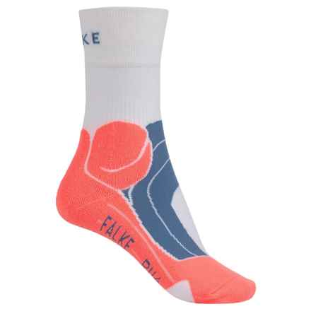 Falke RU4 Cushion Running Socks - Crew (For Women) in White/Neon Orange - Closeouts