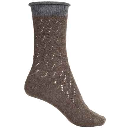 Falke Soft Ajour Socks - Crew (For Women) in Pebble - Closeouts