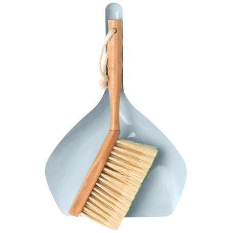 Farberware Dust Pan Brush Set - Wood Handle in Natural/Blue