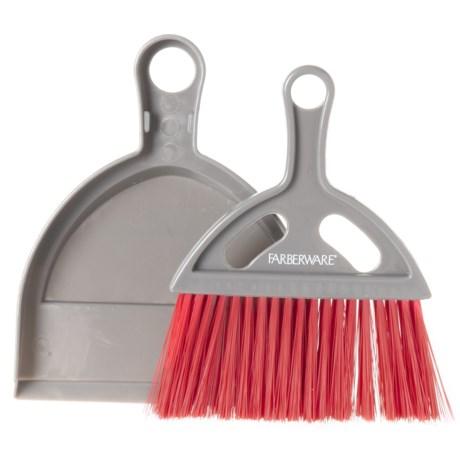 Farberware Mini Dust Pan and Broom in Red/Grey