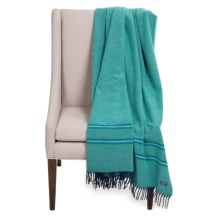 Faribault Woolen Mill Co. Alden Pinstripe Wool Throw Blanket in Jade - Closeouts