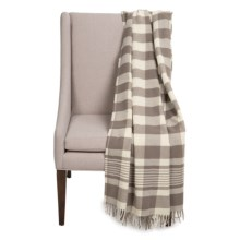 "Faribault Woolen Mill Co. Buffalo Plaid Wool Throw Blanket - 50x72"" in Taupe/Natural - Closeouts"