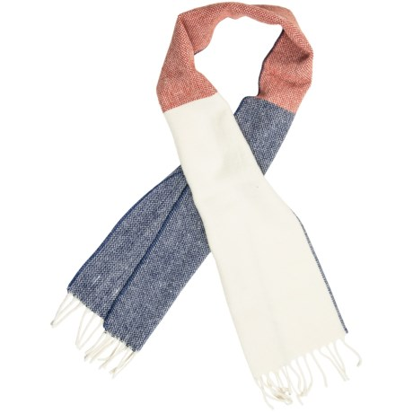 "Faribault Woolen Mill Co. Color-Block Scarf - Merino Wool, 60"" (For Men and Women) in Red"