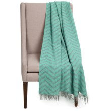 Faribault Woolen Mill Co. Crosby Zigzag Wool Throw Blanket in Spruce - Closeouts