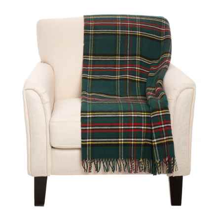 "Faribault Woolen Mill Co Green Stewart Plaid Wool Throw Blanket - 50x72"" in Green - Closeouts"