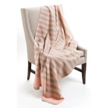 """Faribault Woolen Mill Co. Harbor Stripe Merino Wool Blanket - 50x72"""" in Pink/Grey - Closeouts"""