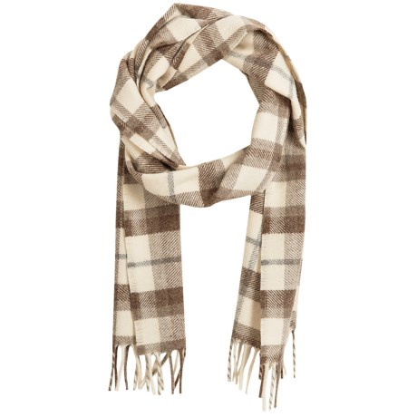 Faribault Woolen Mill Co. Hatchet Plaid Scarf - Wool, Rolled Fringe (For Men and Women) in Natural/Mohogany Heather