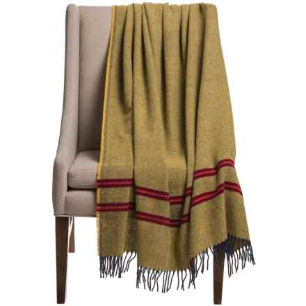 "Faribault Woolen Mill Co. Heritage Pinstripe Twill Throw Blanket - 50x66"" in Citrine/Burgundy/Terracotta - Closeouts"