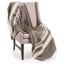 "Faribault Woolen Mill Co. Lodge Stripe Wool Throw Blanket - 50x72"" in Coffee/Natural - Closeouts"