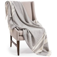 "Faribault Woolen Mill Co. Lodge Stripe Wool Throw Blanket - 50x72"" in Heather Grey/Natural - Closeouts"