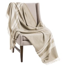 "Faribault Woolen Mill Co. Lodge Stripe Wool Throw Blanket - 50x72"" in Wheat/Natural - Closeouts"