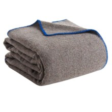 Faribault Woolen Mill Co. Recycled Wool Blanket - Queen, Whipstich Edge in Blue - Closeouts