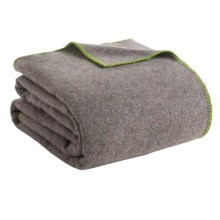 Faribault Woolen Mill Co. Recycled Wool Blanket - Queen, Whipstich Edge in Green - Closeouts