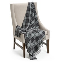 "Faribault Woolen Mill Co. Reed Plaid Throw Blanket - Merino Wool, 50x60"" in Black/Grey/Maroon - Closeouts"