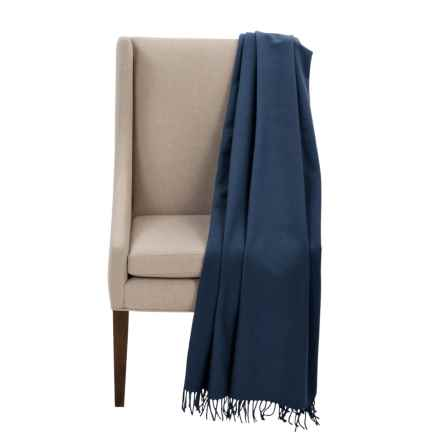"Faribault Woolen Mill Co. Royal Carefree Hotel Throw Blanket - Wool, 54x72"" in Navy - Closeouts"