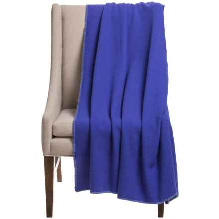 "Faribault Woolen Mill Co. Royal Carefree Throw Blanket - 55x60"", Virgin Wool in Royal Blue - Closeouts"