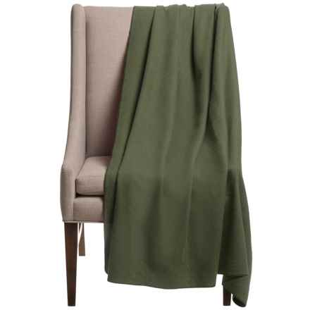 "Faribault Woolen Mill Co. Thermal Loft Wool Throw Blanket - 56x72"" in Green - Closeouts"