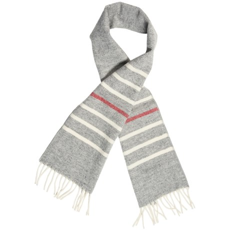 "Faribault Woolen Mill Co. Thin Stripe Scarf - Merino Wool, 60"" (For Men and Women) in Grey Multi"