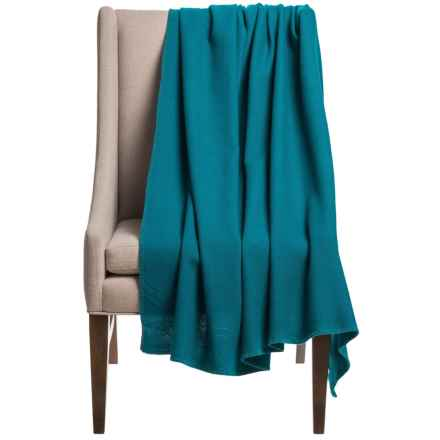 "Faribault Woolen Mill Co. Vintage Plainweave Throw Blanket - 58x60"", Virgin Wool in Teal - Closeouts"