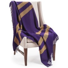 "Faribault Woolen Mill Co. Wool Throw Blanket - Jacquard Stripe, 47x74"" in Purple/Gold - Closeouts"