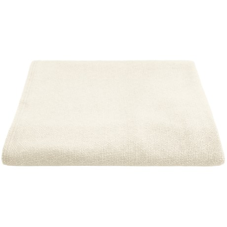 "Faribault Woolen Mill Illusions Oversized Throw Blanket - Wool/Ingeo, 50x72"" in Bone White"
