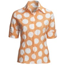Farinaz Italian Cotton Shirt - Fitted, Short Sleeve (For Women) in Orange - Overstock