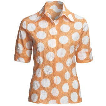 Farinaz Italian Cotton Shirt - Fitted, Short Sleeve (For Women) in Orange
