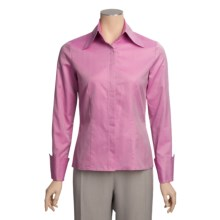 Farinaz Italian Cotton Twill Shirt - Mercerized, Long Sleeve (For Women) in Silver/Pink - Overstock